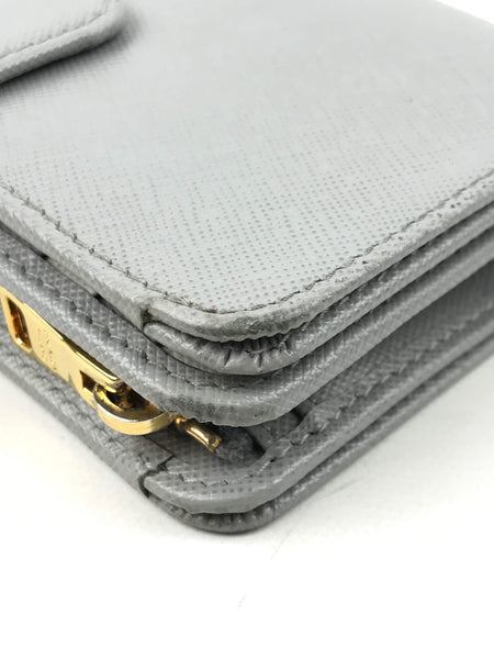 Grey/White Saffiano Leather French Purse Wallet W/ GHW
