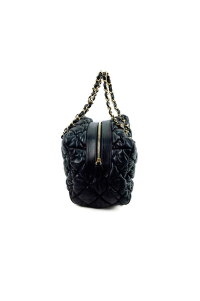 Black Lambskin Bubble Quilted Bowler Bag GHW - Haute Classics