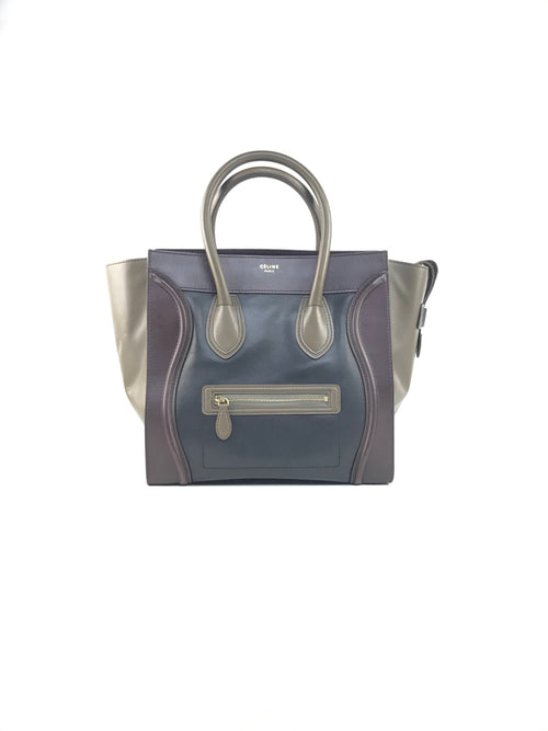 Tri-Color Smoother Leather Luggage Mini Bag W/GHW
