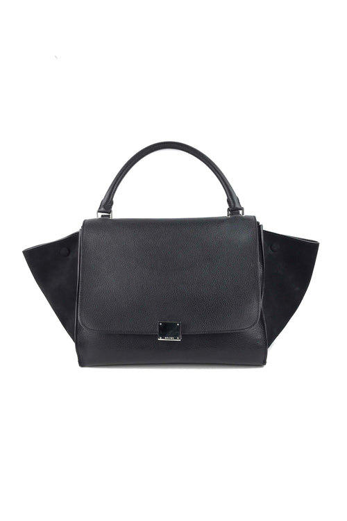 Black Pebbled Calfskin/Suede Mini Trapeze Bag W/ SHW