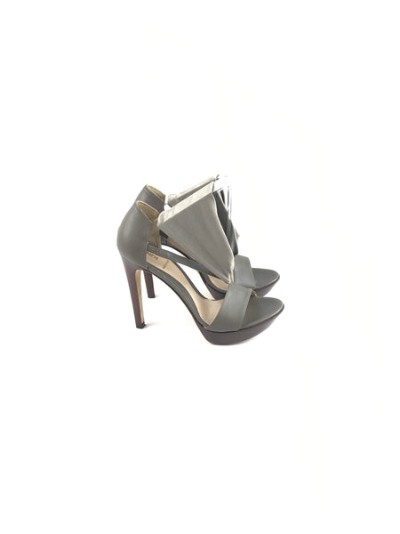 Grey Leather & Material Sandals
