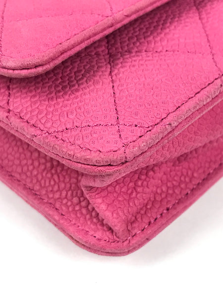 Pink Matt Caviar Quilted Leather WOC W/SHW