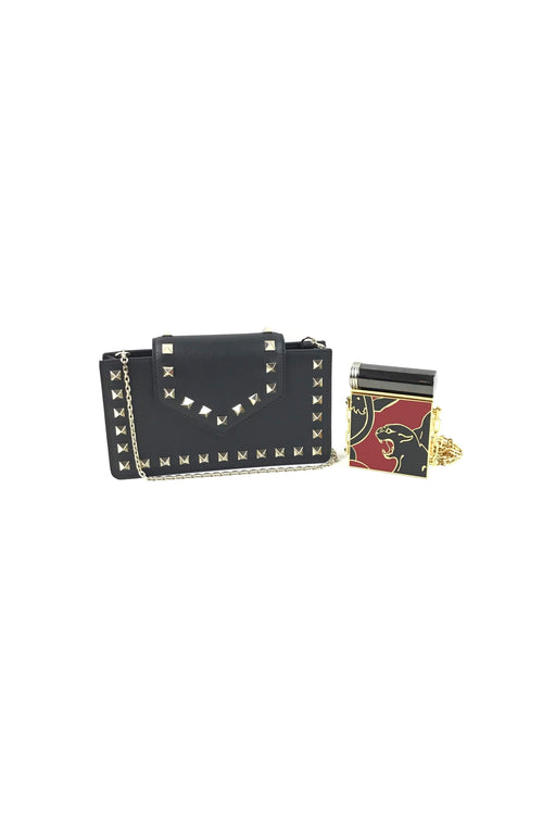 Black Smooth Leather Rockstud Smartphone Case W/ SHW & Red Lipstick Holder W/ Mirror