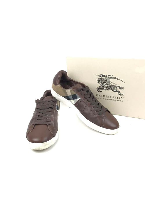 Brown Leather & Housecheck Gifford Men's Sneakers