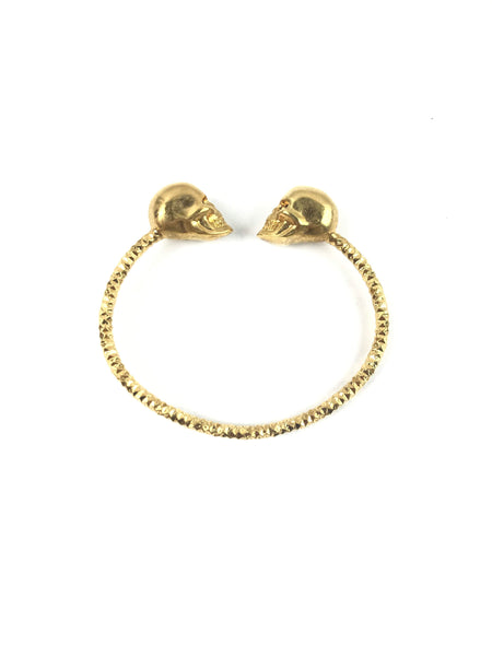 Brass Twin Skull Thin Bracelet