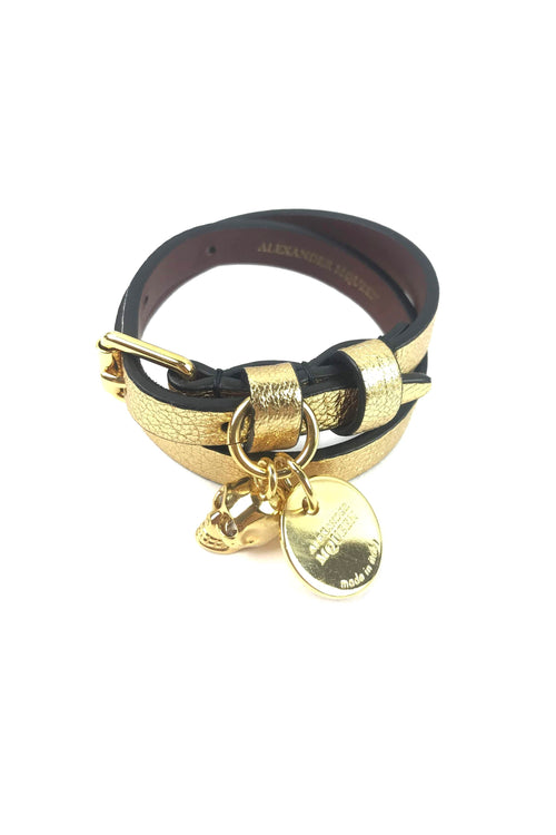 Gold Leather Double Wrap Skull Bracelet W/ GHW