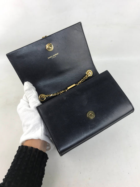 Black Smooth Leather Small Kate Bag W/GHW