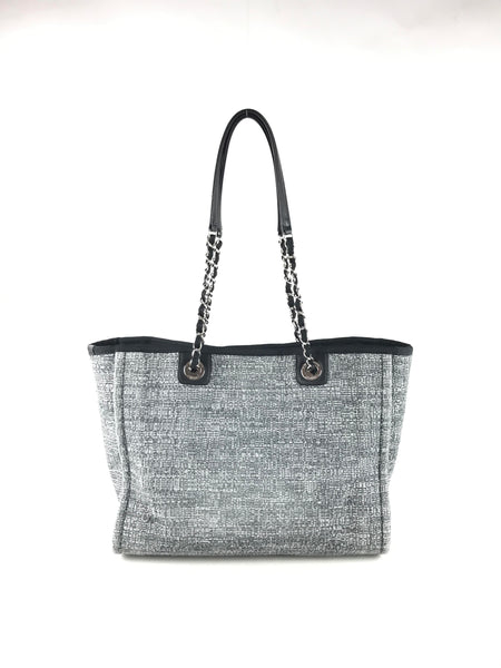 Grey/White Tweed Deauville Tote W/SHW