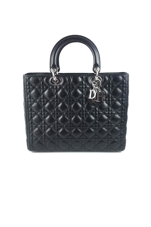 Black Cannage Quilted Lambskin Large Lady Dior Bag W/ SHW - Haute Classics
