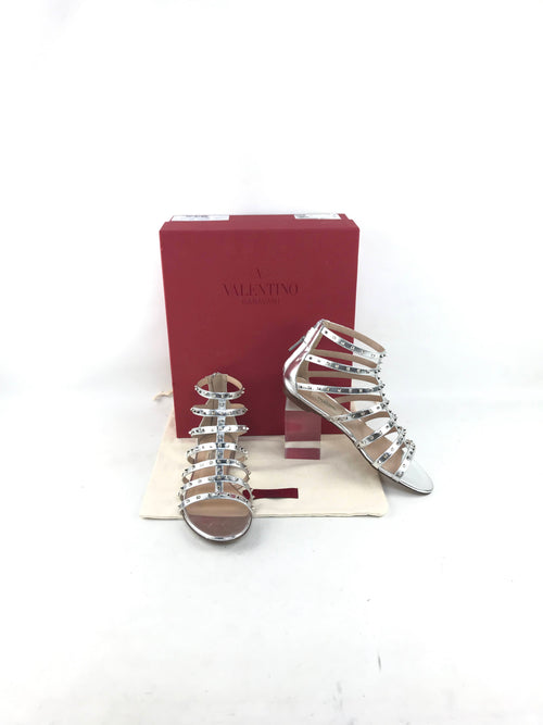 Metallic Silver Leather Caged Gladiator Rockstud Flat Sandals W/SHW