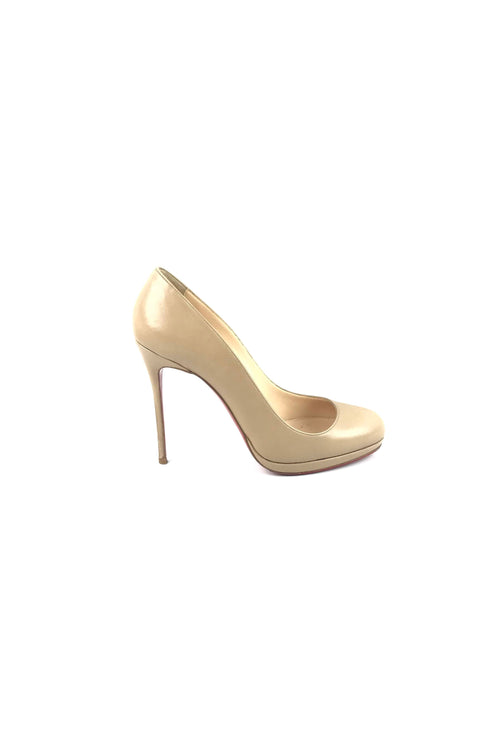 Beige Smooth Leather Filo 120 Pumps
