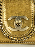Gold Patent Leather Madison Chain Detail Single Flap Bag W/GHW