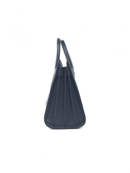 Dark Navy Grained Calfskin Leather Small Sac De Jour W/GHW