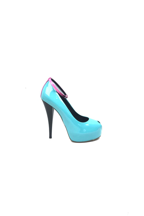 Turquoise/Pink/Yellow Patent Leather Scuba Peep-Toe Pumps