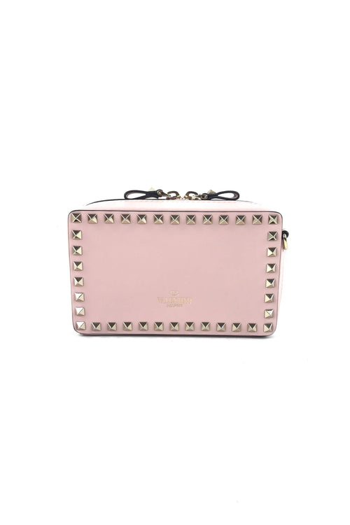 Light Pink Leather Rockstud Mini Clutch W/ Removable Strap