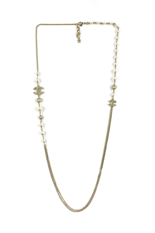 Beige Gold CC Station Pearl Necklace