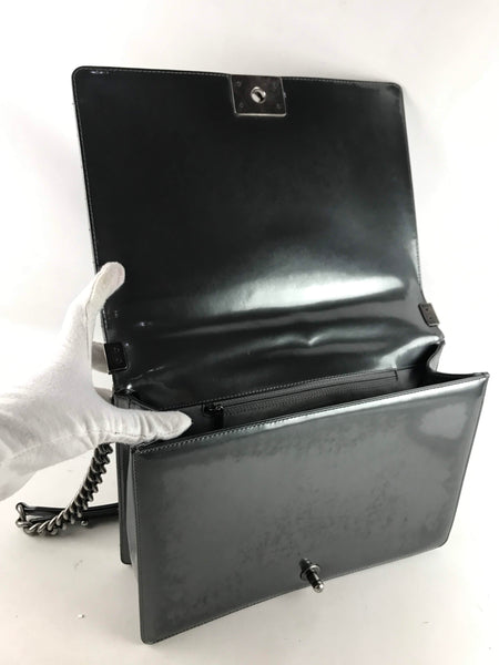 Metallic Pewter Glazed Calfskin Reverso Boy Large Bag W/RHW