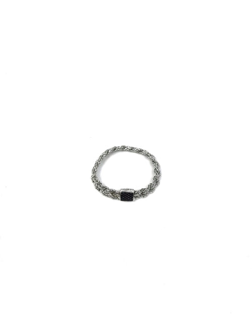 Sterling Silver Classic Woven Chain Bracelet W/ Black Sapphire
