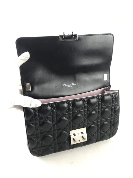 Cannage Black Leather Miss Dior Medium Flap Bag w/ SHW