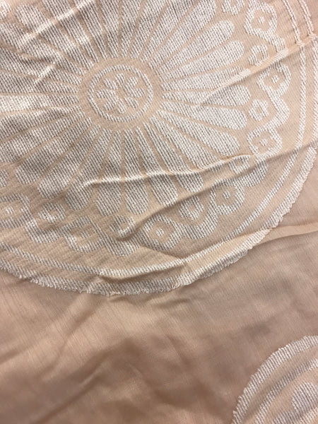 Light Pink/Nude Large Circle-Jacquard Embroidered Wool/Silk Shawl