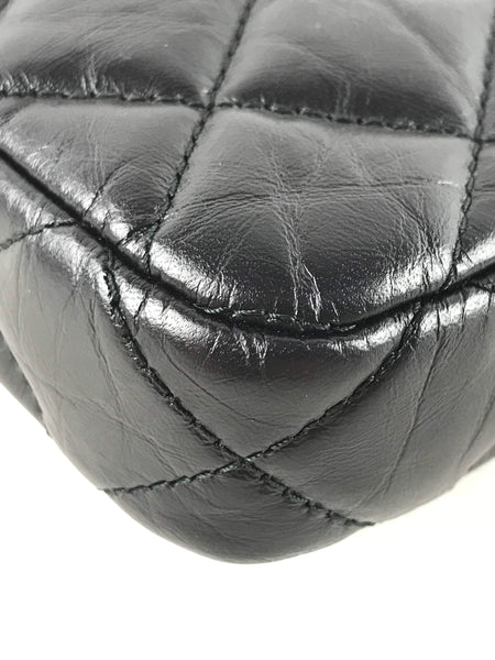 Black Crinkled Calfskin Quilted Reissue Charm Double Zip WOC W/GHW