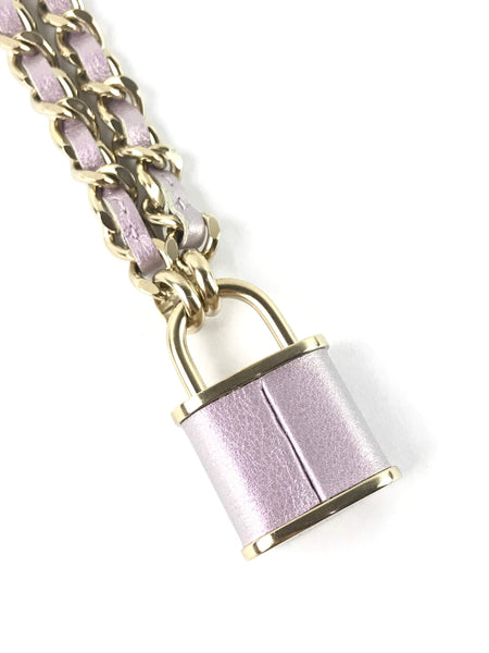 Iridescent Lilac Calfskin Pont Des Art Love Necklace