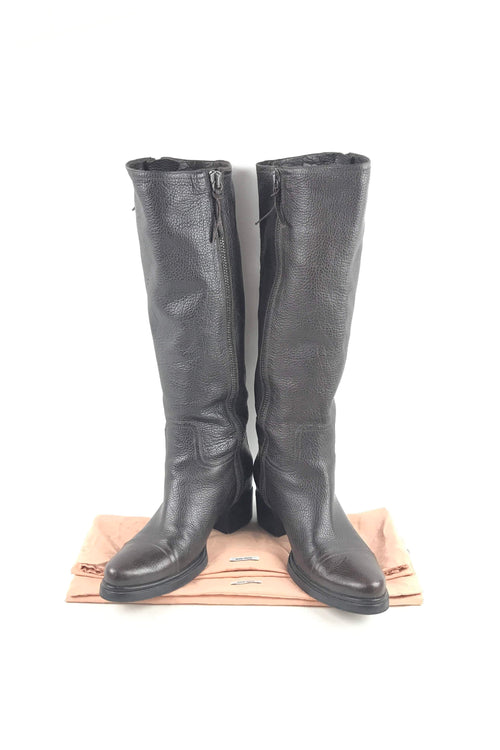 Brown Grained Leather Knee High Boots