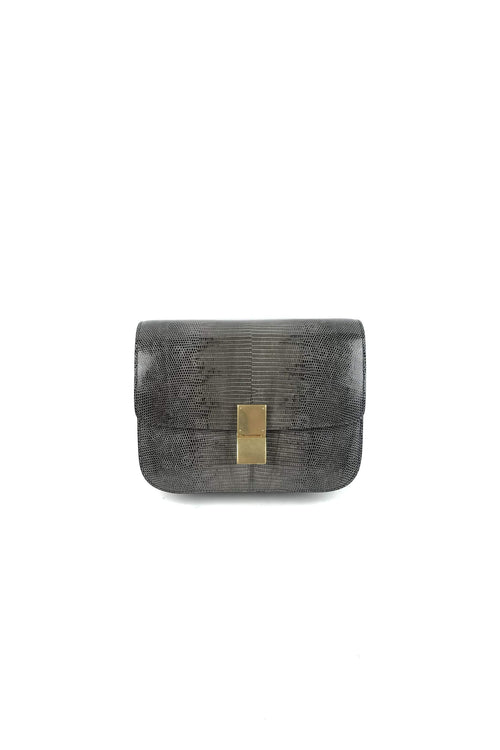Grey Lizard Skin Medium Classic Box Bag