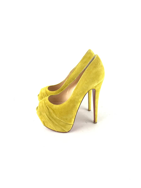 Yellow Suede Drapesse 160 mm Pumps