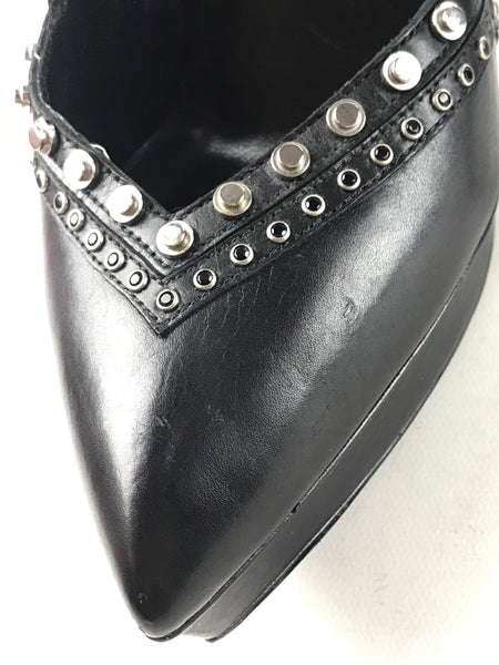 Black Leather Studded Janis Ankle Strap Pumps