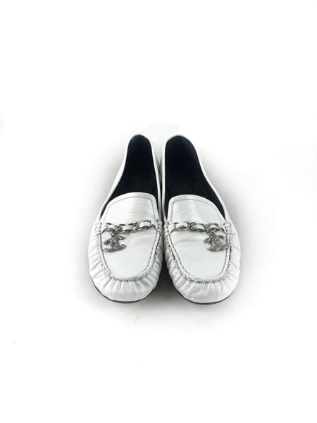 White Patent Leather Moccasin W/SHW