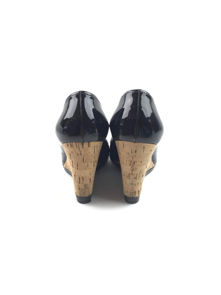 Black Patent Leather Open-Toe Cork Wedges
