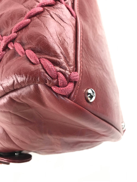 CC Red Crinkled Calfskin Leather Quilted Ultra Stitch Bowler Bag W/SHW