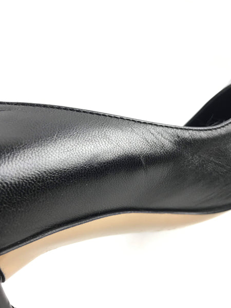Black Smooth Leather Pointed-Toe Pumps W/ Bamboo Heel
