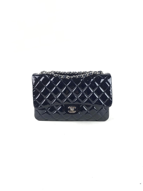 Navy Quilted Patent Leather Large Flap Bag W/SHW