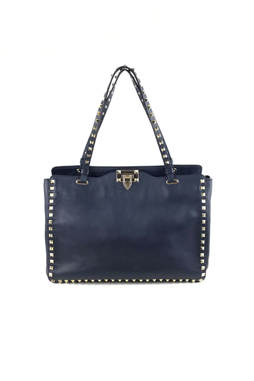 8c022bd19547 Navy Blue Rockstud Medium Tote W  GHW