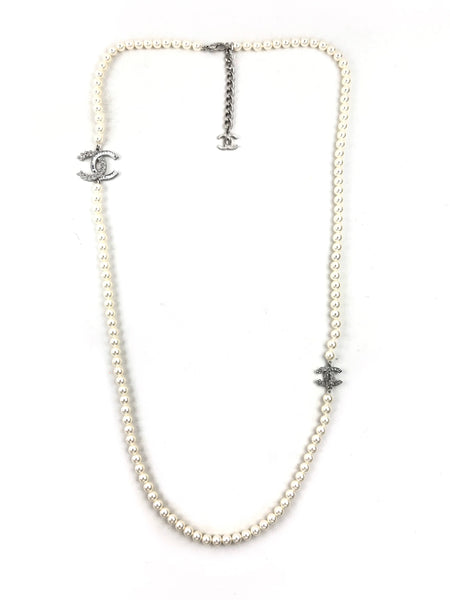 CC Crystal and Costume Pearl Long Necklace