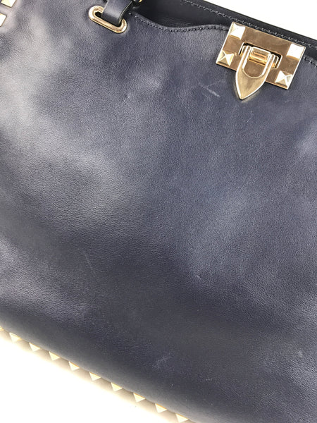 Navy Blue Rockstud Medium Tote W/ GHW