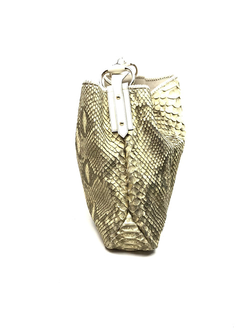 Gold Python Large Horsebit Chain Hobo w/ Beige Top Handle and LGHW