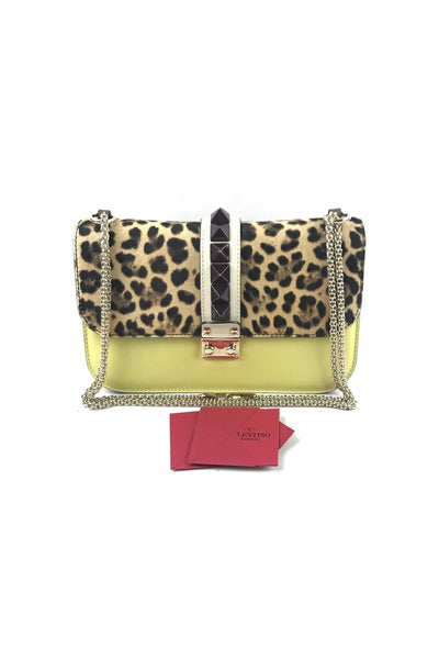 Leopard Pony Hair Tri-Color Glam Lock Large Bag