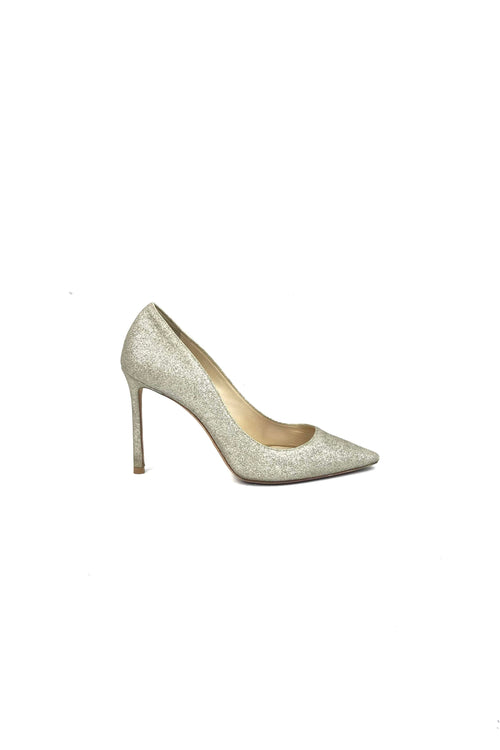 Platinum Ice Dusty Glitter Romy 100 Pointed Toe Pumps