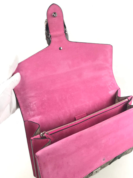 Fuchsia Suede GG Supreme Coated Canvas Shooting Star Dionysus Large Shoulder Bag