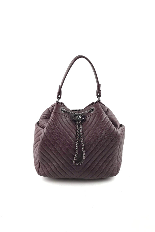 551445532ab6 Burgundy Grained Leather Chevron Boyish Chain Drawstring Bag W  RHW