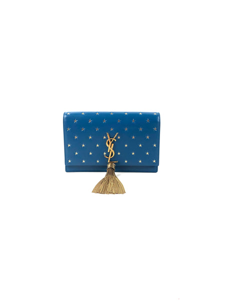 Small Smooth Blue Leather Kate Tassel Chain Crossbody Bag w/ Accent GHW Stars Bag
