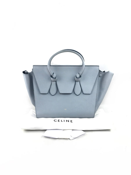Light Blue Drummed Leather Tie Small Tote Bag