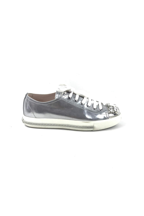 Metallic Silver Leather Strass Sneakers