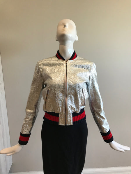 Crinkled Metallic Silver Bomber Jacket W/ Navy & Red Web Wool Trim