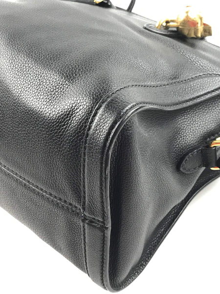 Black Grained Leather Small Padlock Zip-Around Tote - ON LAYAWAY