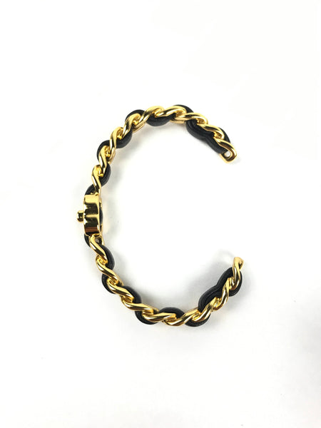 Intertwined Leather Chain Bracelet W/GHW