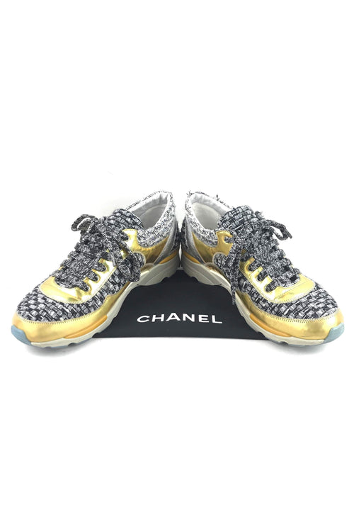 Black/White Tweed & Metallic Gold/Silver Leather Sneakers